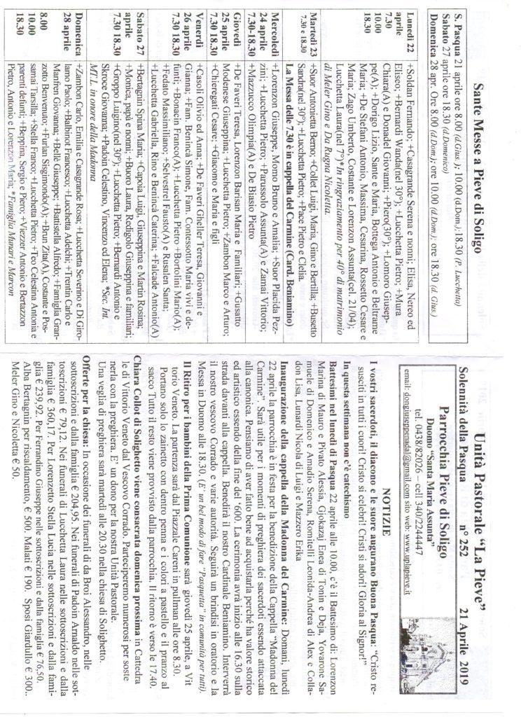 Notizie Parrocchiali del 21/04/2019