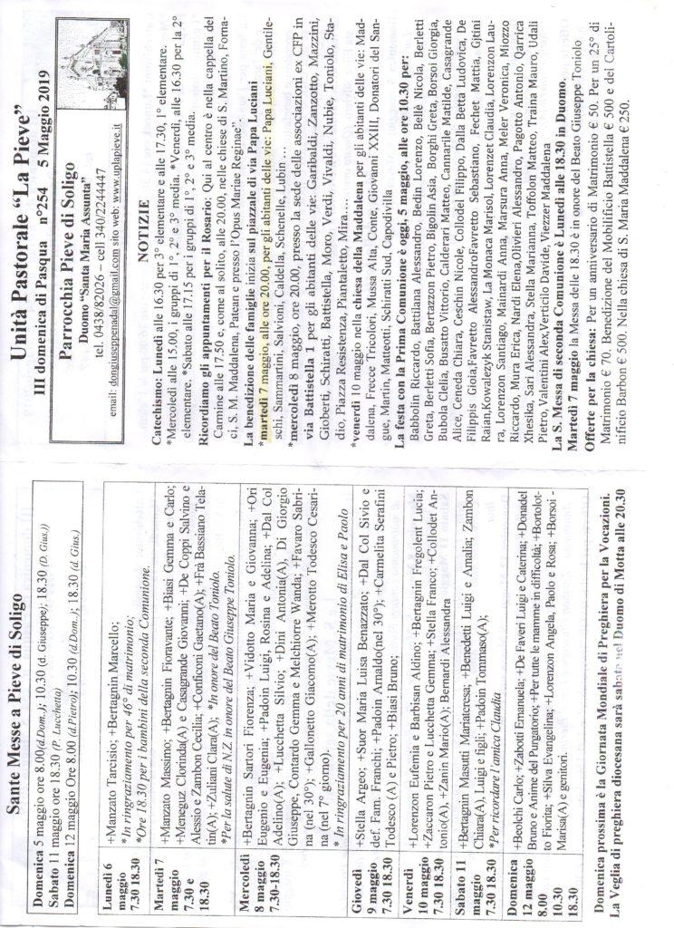 Notizie Parrocchiali del 05/05/2019