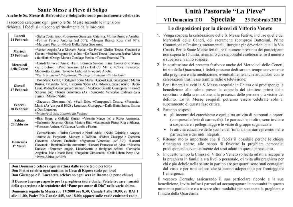 Emergenza sanitaria CORONAVIRUS, disposizioni della diocesi di Vittorio Veneto
