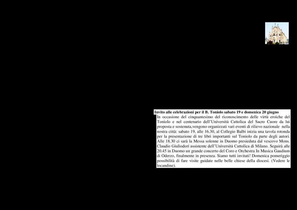 NOTIZIE PARROCCHIALI DEL 13.06.2021